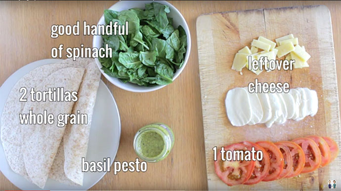 Spinach Tomato Quesadilla Ingredients
