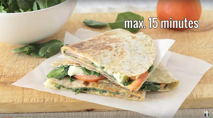 Spinach Tomato Quesadillas Ready in 15 minutes