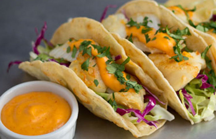 Fish Tacos with Cabbage Slaw and Spicy Sriracha Sauce Recipe